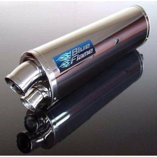 SUZUKI GSXR1300 HAYABUSA 1998-2007 PAIR-BLUEFLAME STAINLESS STEEL TWIN PORT EXHAUSTS