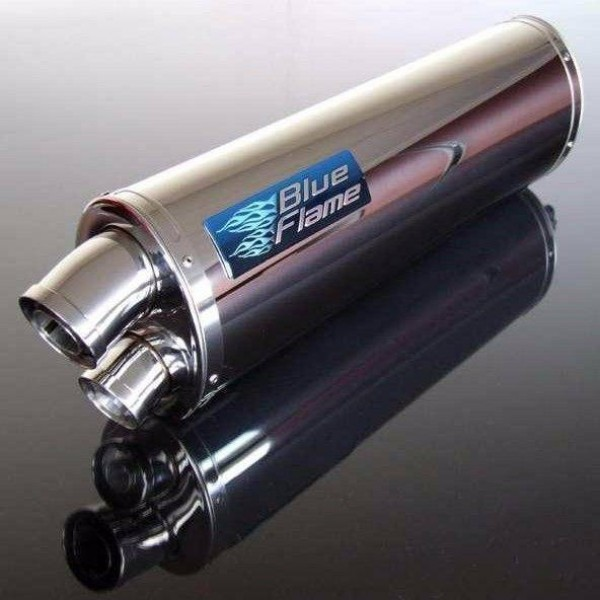 BMW F650 GS 2000-2008 BLUEFLAME STAINLESS STEEL TWIN PORT EXHAUST SILENCER