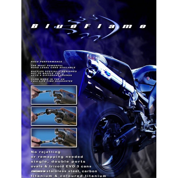 SUZUKI GSX1400 K1-K4 2001-2004 PAIR-BLUEFLAME STAINLESS STEEL WITH CARBON TIP EXHAUSTS