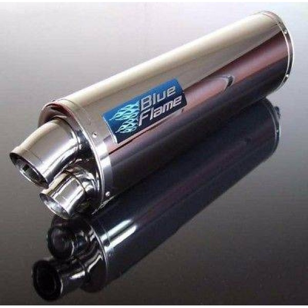 BMW F800S (FLARED END) 2006 BLUEFLAME STAINLESS STEEL TWIN PORT EXHAUST SILENCER
