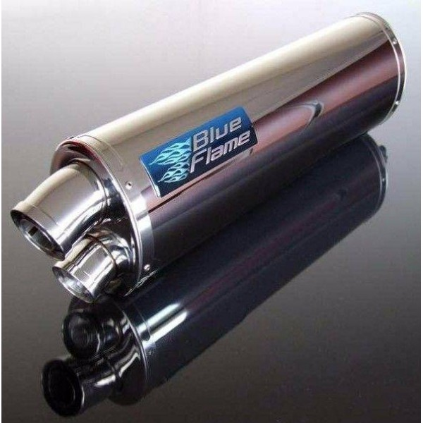 BMW K1200 R/S 2005-2009 BLUEFLAME STAINLESS STEEL TWIN PORT EXHAUST SILENCER