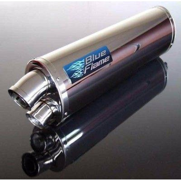 BMW R1200 GS 2004-2009 BLUEFLAME STAINLESS STEEL TWIN PORT EXHAUST SILENCER