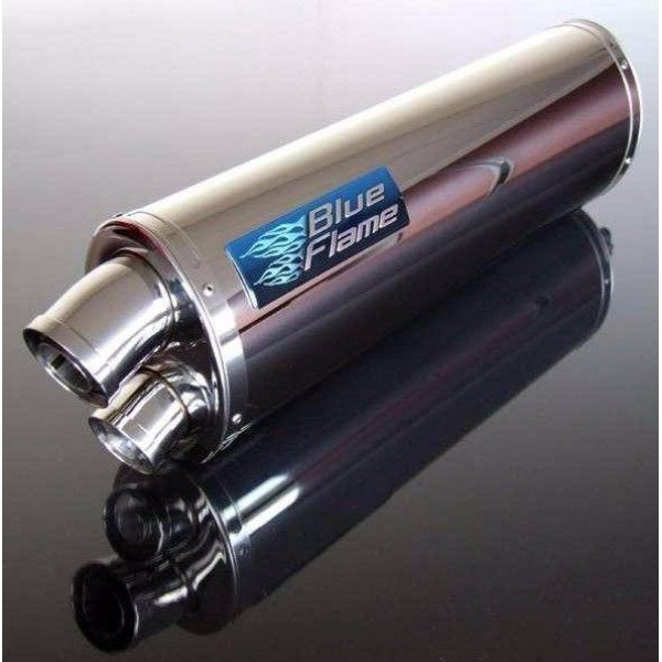 YAMAHA FZS600 FAZER 1998-2003 BLUEFLAME STAINLESS STEEL TWIN PORT EXHAUST SILENCER