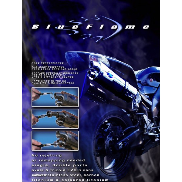 TRIUMPH 955i SPEED TRIPLE 2001-2004 BLUEFLAME CARBON SINGLE PORT TRI-OVAL EXHAUST SILENCER