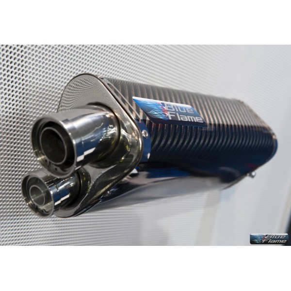 BMW F800S (FLARED END) 2006 BLUEFLAME CARBON TRI-OVAL EXHAUST SILENCER MUFFLER